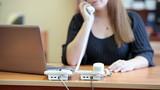 Call center operator in work. Unrecognizable person poster