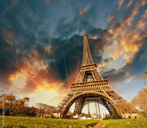 Wonderful view of Eiffel Tower in Paris. La Tour Eiffel with sky