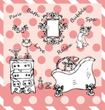 doodles Bathroom in paris vintage style Luxurious pop art ink sk