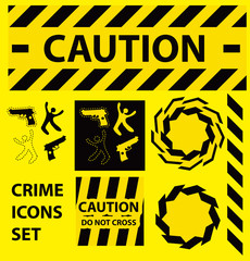 Silhouette icons set Caution, danger, and police crime concept d