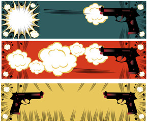 Pop art guns banners set styled illustration on a crime based th