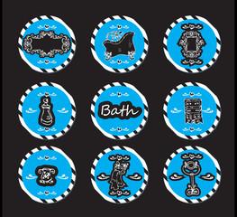vector set vintage labels - doodley originals bath spa cosmetic