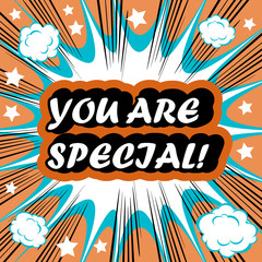 You Are Special! card banner tag background