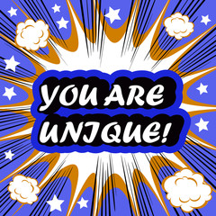 You Are Unique! card banner tag