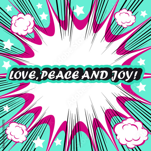 Retro background Design Template boom with word Love Peace and J