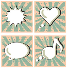 Speech Bubble in Pop-Art Style set Boom Heart Talk Music