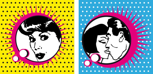 Pop Art Woman and kissing Couple dot backgrounds cards bobble co