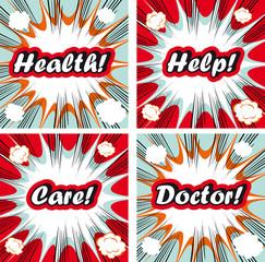 Medical signs set on pop art backgrounds Health, help, care, doc