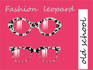 Fashion collection of oldschool glasses with leopard texture pat