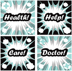 Medical signs set on pop art backgrounds Health, help, care, doc