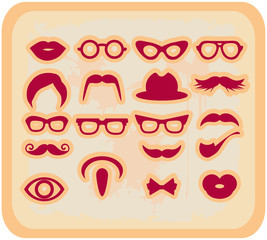 Vector grunge Mustaches and other Accessories Vector Set silhoue