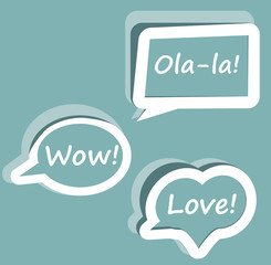 Retro Vector speech bubble for dialogue with text Wow love Ola-l