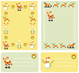 abstract Christmas backgrounds and cards set with pixel xmas ic