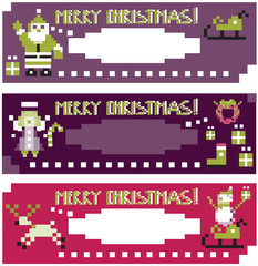 Christmas labels with different funny season pixel characters.We