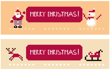Two funny pixel banners santa and his team holding a Merry Xmas