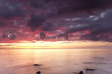 Beautiful ocean sunrise, wide angle photo
