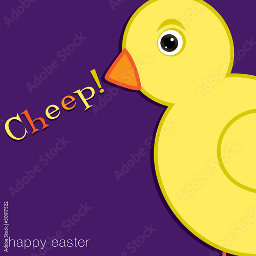Cheep! Happy Easter chick card in vector format.