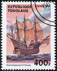 stamp printed in Togo shows image of a sailing ship