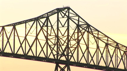Close-up view of Astoria bridge at dusk, Oregon