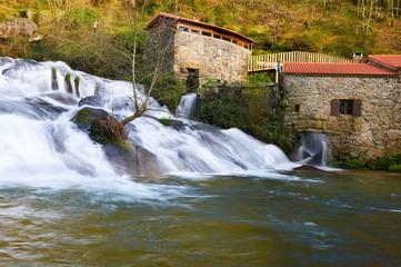 Barosa river Waterfall. Barro, Pontevedra, Spain