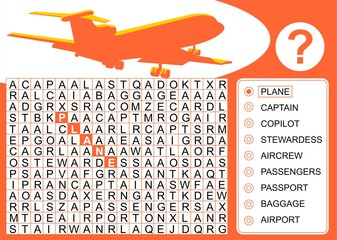 Airplane, Word search game