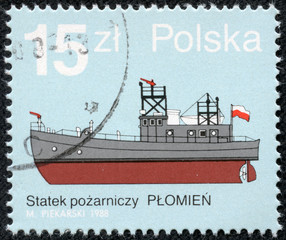 stamp printed in Poland shows Fire Boat