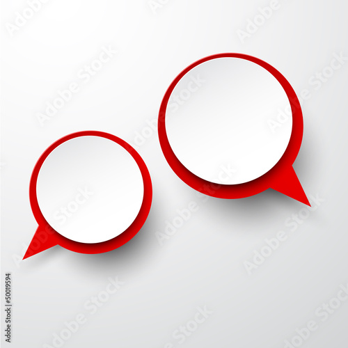 Paper white-red round speech bubbles.