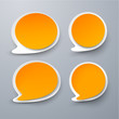 Paper set of rounded orange speech bubble.