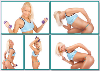 Blond woman is posing with dumbbells on a white background