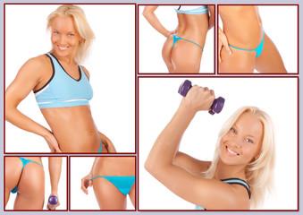 Blond woman in blue underwear is posing on camera
