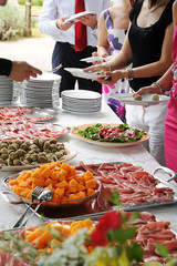 Food display at a banquet or buffet