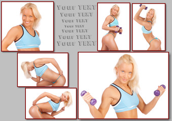 Blond woman is studio with violet dumbbells
