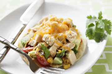 Roasted Corn and Chicken Tostadas