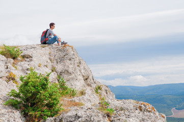 Female on a mountain