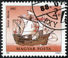 "Stamp shows image ""Santa Maria"" in a 1492 year"