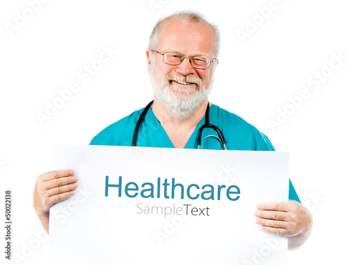 doctor with poster