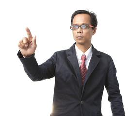 young asian business man pointing by right hand finger isolated