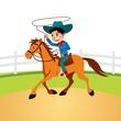 Obrazy na płótnie, fototapety, zdjęcia, fotoobrazy drukowane : little cowboy riding horse and lasso throwing