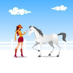 cowgirl and white horse
