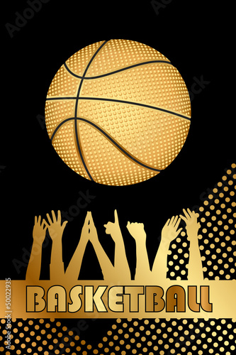 Vector black and gold basketball background
