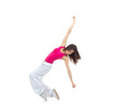 New pretty modern slim hip-hop style woman dancer break dancing