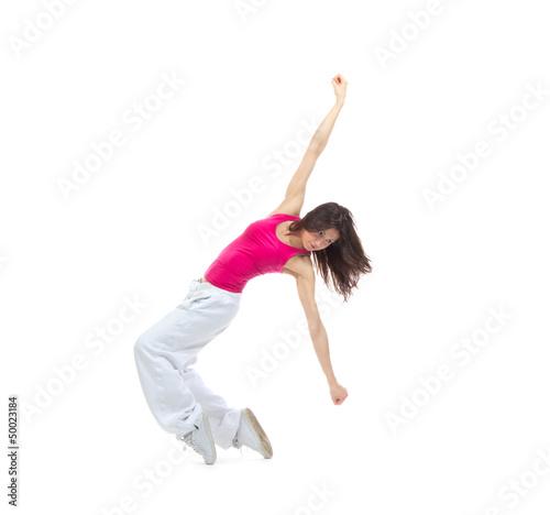 New pretty modern slim hip-hop style woman dancer break dancing