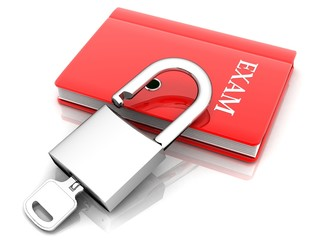 the red book with a lock and key ( EXAM