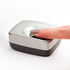 Finger on a biometric scanner
