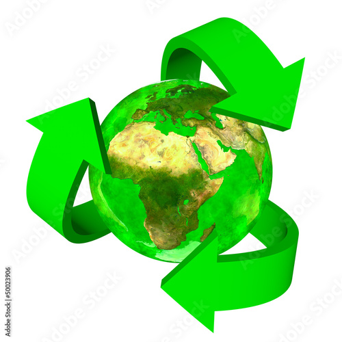 Green Earth eco symbol - Europe Africa and Asia