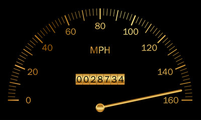 Vector illustration of black and gold speedometer