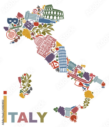 Traditional symbols of Italy in the form of a map