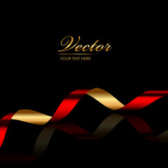 Vector background with red & gold ribbon