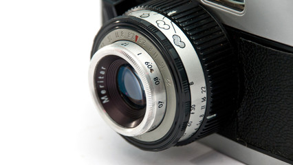 old photo camera lens with pictograms