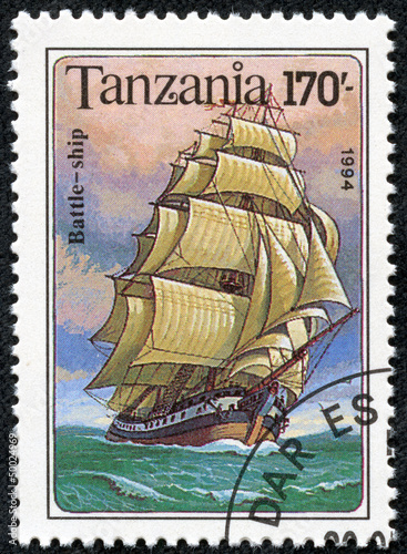 Poster stamp printed in Tanzania shows Battle Ship